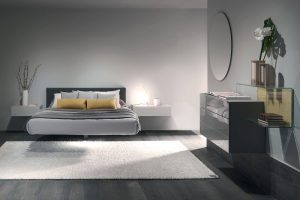 gray color theme room with floating bed