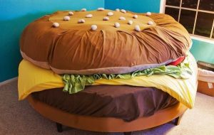 Hamburger bed with all the fixings