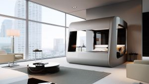 sliver tech bed in bedroom