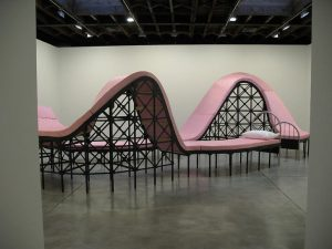 long pink roller coaster bed