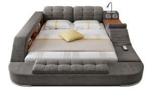 gray, white and beige colored bed with integrated technology