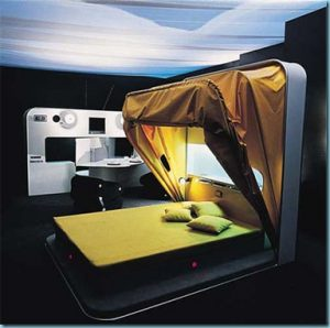 yellow folding enclosed bed