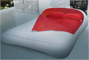 white and red zip up bed sheet bed