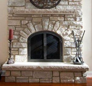 white brick fireplace
