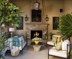 rustic outdoor fireplace
