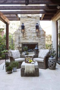 modern outdoor white stone fireplace