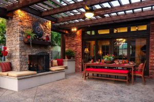 dark brown wood pergola standing fireplace