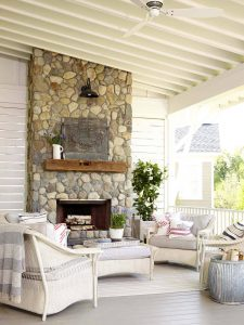 modern outdoor stone fireplace