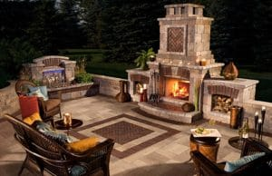 outdoor brick paved seating area