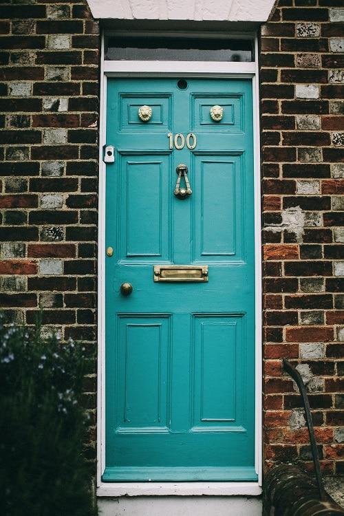 teal wood painted door