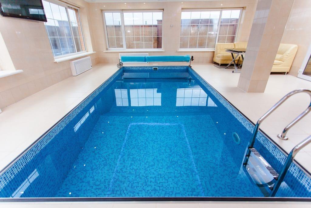 mosaic indoor rectangular pool