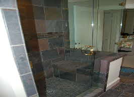 shower remodeled with various tile designs