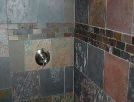 close up of shower remodel tile design
