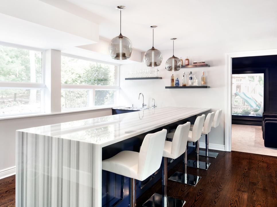 sleek modern white marble bar