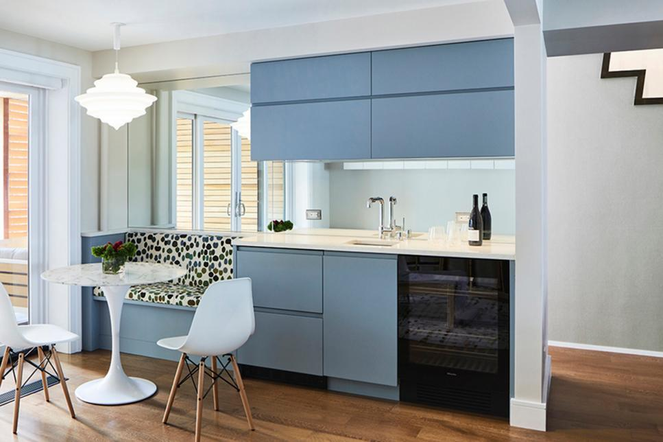 light blue breakfast bar and nook design