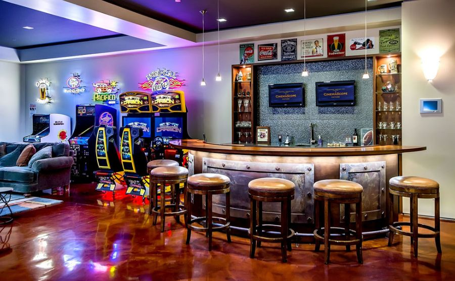 retro basement bar design