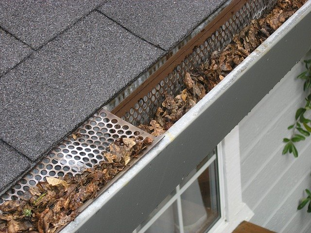 birds eyeview of house roof with leaves in gutter