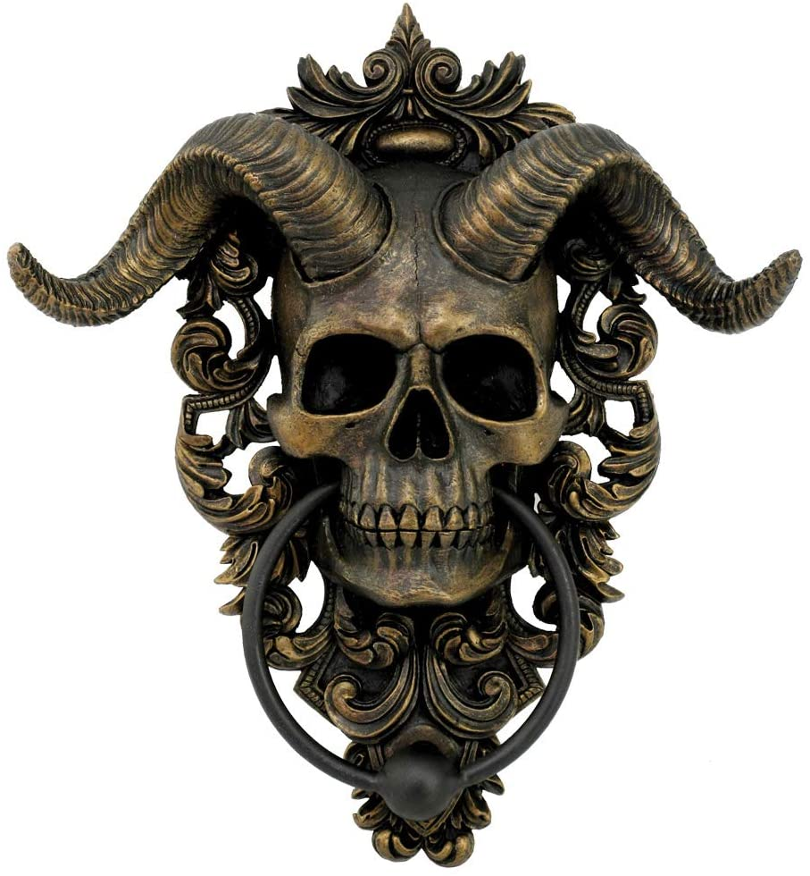 antique gold finished skull with horns door knocker