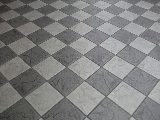 ceramic square tiles in alternating gray and white square pattern