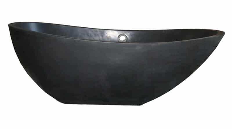 """T-ZEN-72 Black Lava 72"""" x 38"""" Clawfoot Soaking Bathtub"""